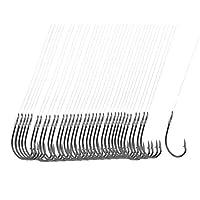"""釣りフックライン,SODIAL(R) 40件x20""""長さの釣りライン8# ダークグレーの金属フィッシュフック"""