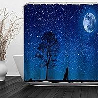 満月と青い星空の森のオオカミハウリングオオカミ浴室の窓の装飾のための生地のホックが付いているポリエステル防水シャワー・カーテン60X72in