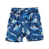 水着 キッズ 海水パンツ サーフパンツ UVカット 短パン ジュニア 男の子 子供用 (サメ柄, 130(ウエスト56cm))