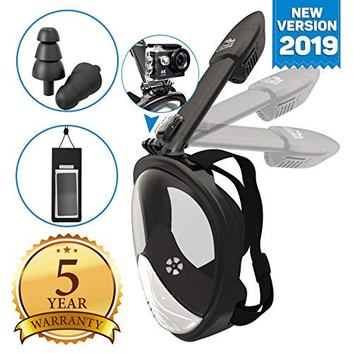 Full Face Snorkel Mask - Scuba Diving Set with Tubeless, Anti-Fog & Anti-Leak Design - 180 ° Panoramic Viewing - Free Universal Waterproof Case for Phone & Earplugs - GoPro Adapter, available in two sizes (Blue, S/M) (Black, S/M)
