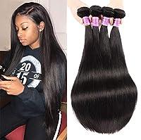 ブラジル3バンドルストレート人間の髪の束シルキーストレートバージン人毛織りエクステンション自然300グラム,黒,28inches