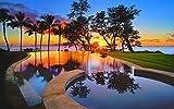 絵画風 壁紙ポスター (はがせるシール式) 夕暮れのワイキキ リゾート ビーチ プール 海 ハワイ キャラクロ HWI-006W1 (ワイド版 921mm×576mm) 建築用壁紙+耐候性塗料