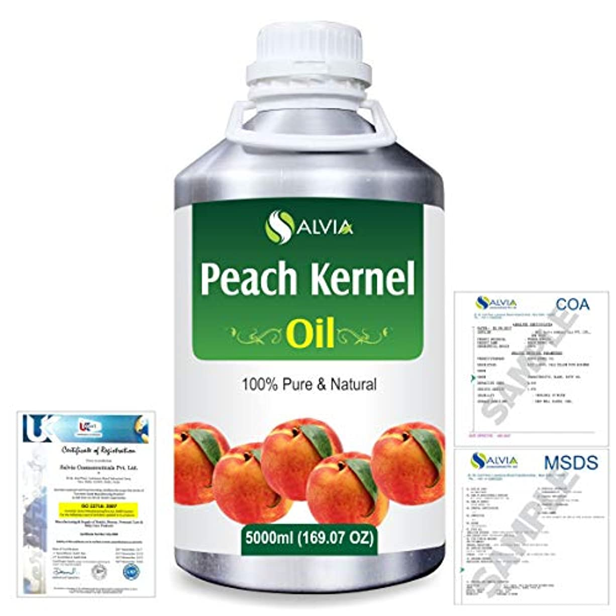 自伝権限後世Peach Kernel (Prunus persica) Natural Pure Undiluted Uncut Carrier Oil 5000ml/169 fl.oz.