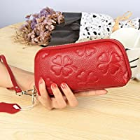 財布 女性の本物の革のクラッチバッグシェル大容量携帯電話の財布 (Color : 赤)