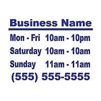Wild Dingos LLC Business Hours Style 2 Size 10x13 Store Window Vinyl Decal Sticker Blue by Wild Dingos LLC [並行輸入品]