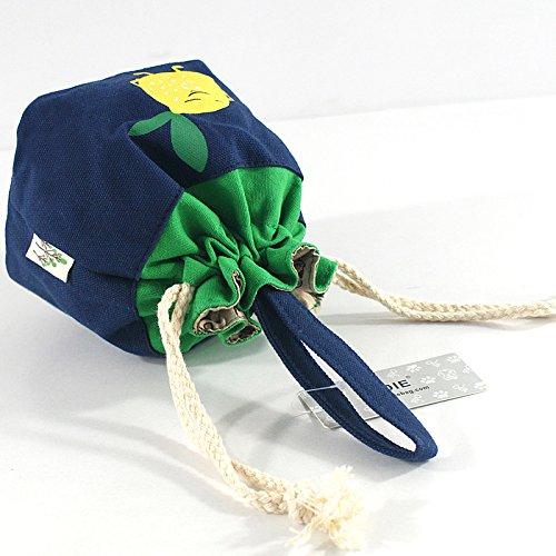 シンプルファンの巾着袋 コットン おしゃれ かわいいレモン きんちゃく 小物雑貨収納ポーチ浴衣用 巾着形 バッグ アクセサリーや小物入れに 子供用和装小物合財袋 信玄袋・合切袋