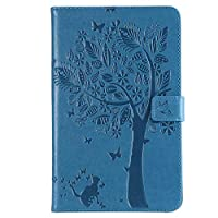 "Abtory All-New Fire HD 10 10.1"" 2017 Model ケース, [Cat & Tree Embossing] PU Leather Cover with Auto Wake/Sleep Compatible with All-New Fire HD 10 10.1"" 2017 Model Blue"