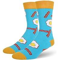 Men's Funny Novelty Crew Socks Crazy Food Taco Donuts Egg Sushi Cotton Dress Socks