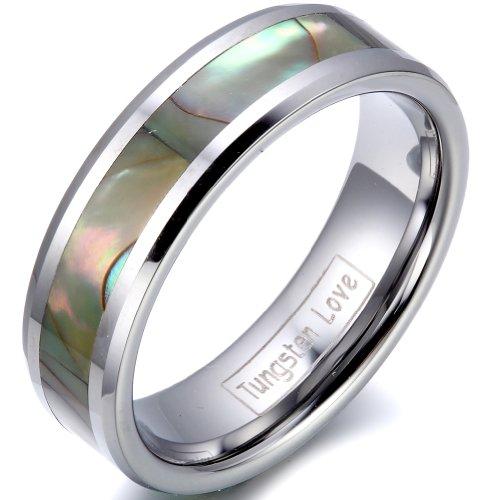 JewelryWe ジュエリー ファッション アクセサリー メンズ レディース リング 指輪, クラシック シンプル, アバロニ アワビ貝, タングステン, カラー:シルバー(銀);[ギフトバッグを提供]