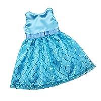 Fenteer 布製 人形服 18インチアメリカンガールドールのため ノースリーブドレス スカート ワンピース 4カラー選択 - 青