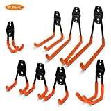 Vlio 8 Pack Steel Garage Storage Utility Double Hooks, Heavy Duty Tool Hangers for Organizing Power Tools, Ladders, Bulk items, Bikes, Ropes, Garden Tools, etc.