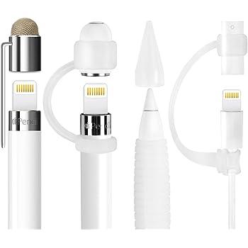MEKO [5点セット] Apple Pencil キャップ ホルダー クリップ付き シリコングリップ ペン先カバー 充電ケーブル アダプタ連接用カバー 紛失防止 iPad pro pencil アップルペンシル専用