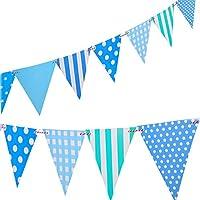 誕生日バナーペナントlseng Happy誕生日パーティーバナーペナントフラグのパーティー – ブルー(12個)