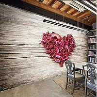 Wuyyii ファッションヴィンテージレンガの壁カエデの葉3D大壁画壁紙リビングルームの寝室の壁紙絵画テレビ壁の壁紙-280X200Cm