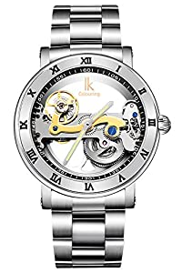 GuTe出品 腕時計 メンズ 自動巻き 究極のスケルトン 夜光 スチームパンク ステンレスバンド 防水 格好良い 機械式 (シルバー)