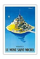 モン・サン・ミッシェルをご覧ください - ノルマンディー、フランス - ビンテージな世界旅行のポスター によって作成された ベルナール・ヴィユモ c.1955 - アートポスター - 76cm x 112cm