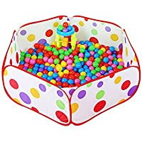 vi. YoボールプールポータブルベビーボールテントHexagon Polka Dot Play Houseベビーキッズかわいいおもちゃテント簡単折りたたみL (ボールは含まれません115 x 60 x 36 cm