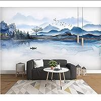 Lcymt 牧歌的な壁紙紙インク風景画壁画カスタム写真の壁紙3Dホテルの家の装飾の自己接着ビニール/シルクの壁紙-250X175Cm
