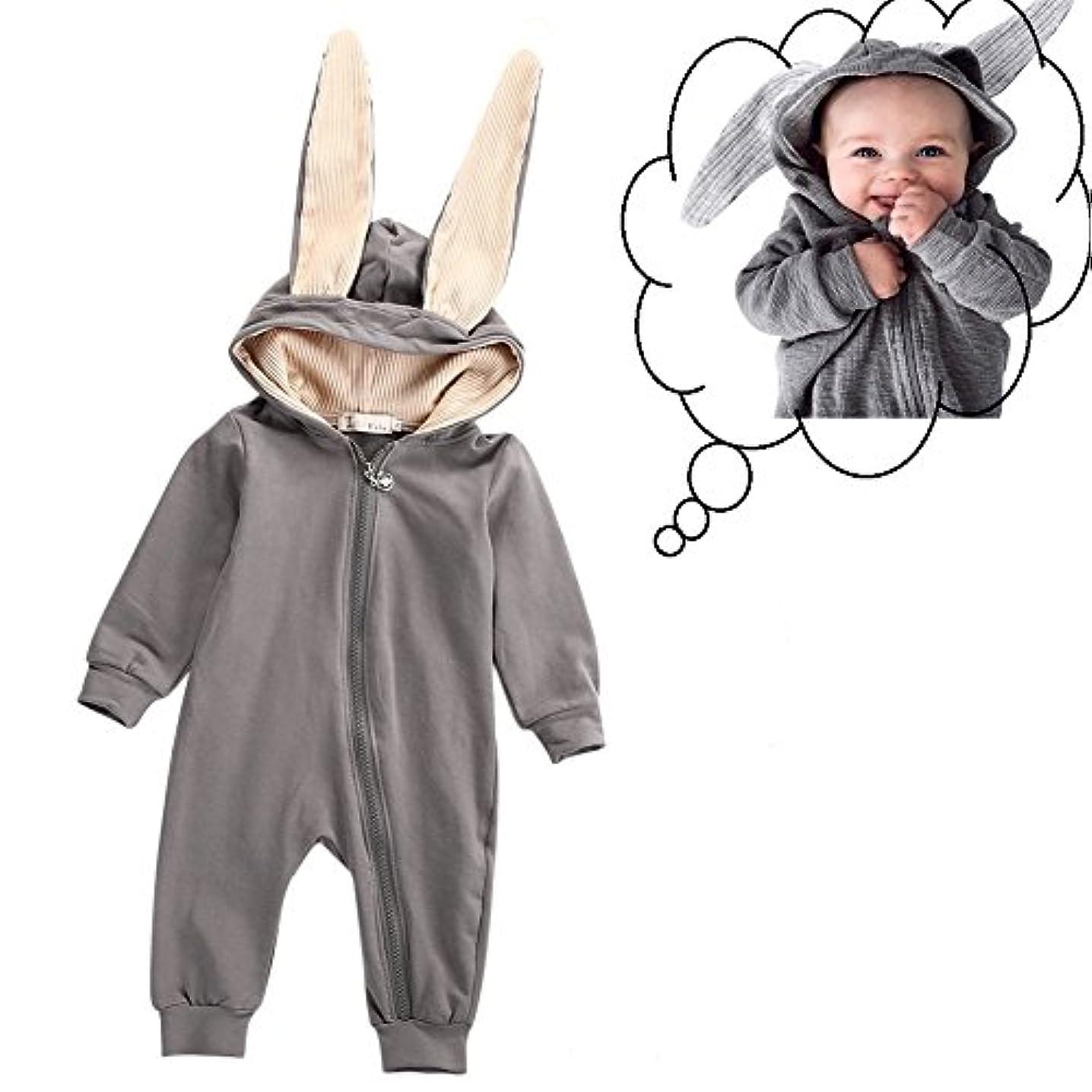 真剣に論文ベストOchine 兎 出産祝い 男の子 女の子 子供服 赤ちゃん服 ロンパース カバーオール 長袖 綿 ジッパー フード付き 大きな耳のウサギ コスチューム パジャマにも グレー 0-4歳に