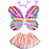 LUOEM Girls Fairy Costume Set with Wings Wand Headband Tutu Skirt Girls Princess Costume Butterfly Wings Party Costume Set 4PCS