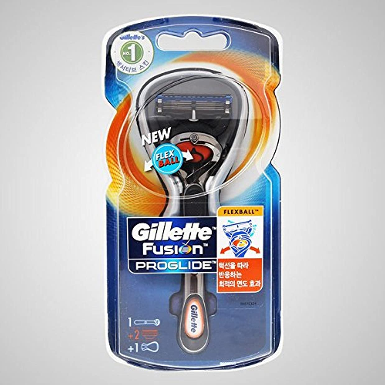 市場祝うダブルGillette Fusion Proglide Flexball Manual 2かみそりの刃で男子1カミソリ [並行輸入品]