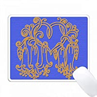 花のハートデザイン。エキゾチックな花。青。装飾。人気イメージ PC Mouse Pad パソコン マウスパッド