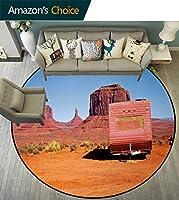 原始国 ズラウンドカーペットホームエリアラグリビングルームフロアヨガマット 放棄されたキャラバンデザインモニュメントバレーアリゾナ砂漠の国プリントドアマット 家のインテリア オレンジピンクブルー(直径-160cm)