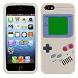 kwmobile シリコンケース ゲームボーイデザイン Apple iPhone SE / 5 / 5S 用 グレー - スタイリッシュなデザインと最適な保護