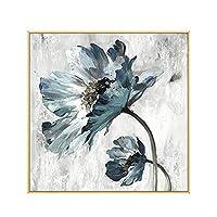ライブルームのホームインテリアのためにキャンバスの壁のアートウォール装飾の写真を絵画に100%手描きの抽象的な花アート油絵,1,(40X40cm)16X16inch