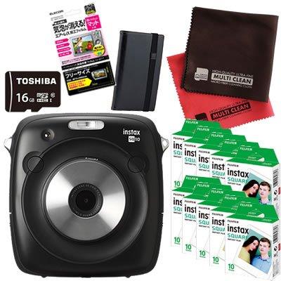 富士フィルム(FUJIFILM) インスタントカメラ チェキ instax SQUARE SQ 10 (100枚セット, ブラック)