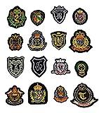 (トラベルザワールド)TravelTheWorld 英国 カレッジ風 ワッペン アップリケ 16枚 セット 刺繍 アイロン付け (16種)