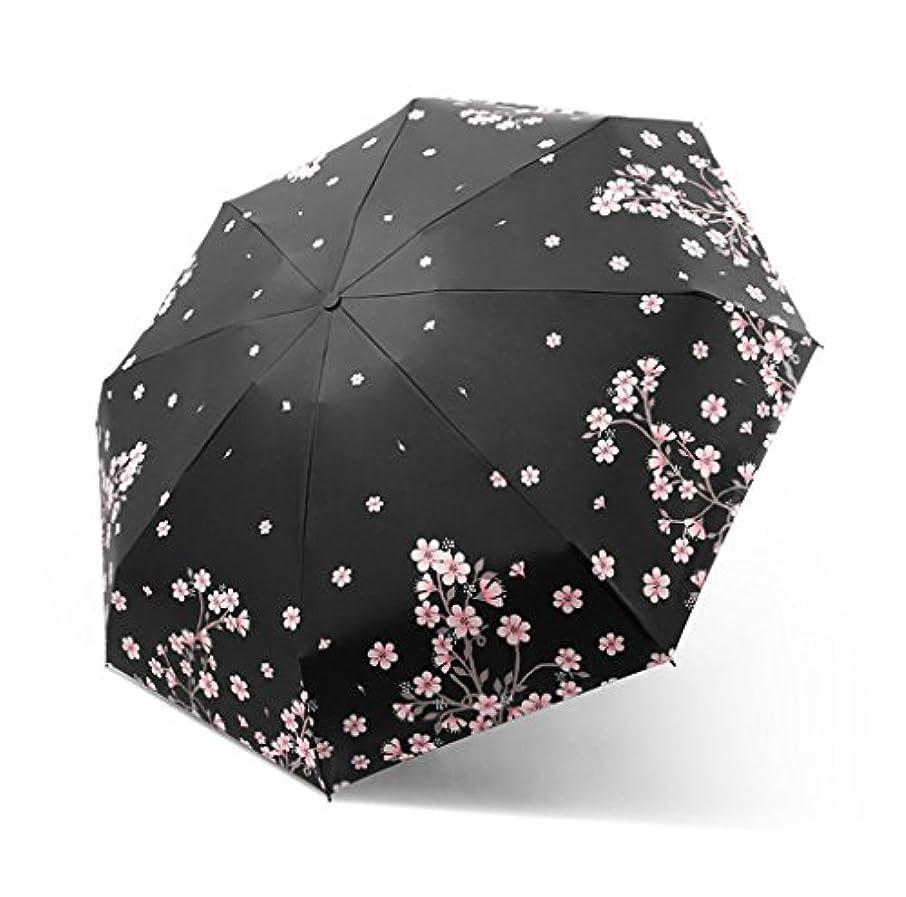 黒人テレマコスつぶやき傘軽量ミニポータブル5層折りたたみ日焼け止めUVデュアルユースサンシェードカプセルサニー (Color : Black)