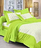 Olive Green Color Saganari King Size Double Bed Sheet With 2 Pillow Cover