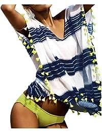 xiaokong女性用ストラップレスストライプビーチバギードレスカバーUPS