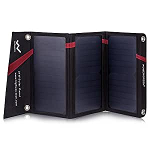 PowerGreen ソーラーチャージャー 21W ソーラーパネル 2usbポート 防水 iPhone iPad等パワーバンク アウトドア