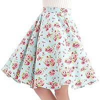 FiftiesChic 100% Cotton Polka Dot Floral 50s Vintage Retro Swing Full Circle Skirt