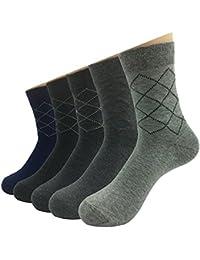 Sumery メンズ ビジネスソックス 菱形の点線柄 通気性抜群 快適 健康で防臭性いい 礼装用 5足セット