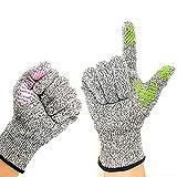 アンチカッティング5手袋、指、虎の口、滑り止めシリコン、HPPE、滑り止め作業用手袋、家庭菜園、カットプルーフ、防水、耐摩耗性手袋,L