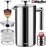 Mueller フレンチプレス ダブルウォールステンレススチールミラー仕上げ 20%ヘビーデューティー コーヒー/紅茶メーカー マルチスクリーンシステム コーヒー豆の粉なし 18/10ステンレススチール 錆びない 食器洗い機使用可 50oz シルバー MU-SSHYDPRESS-50