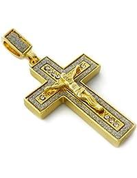 Jesus Crucifixクロスペンダントネックレス24 cmロープチェーン