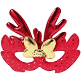BESTOYARD エルククリスマスコスチュームマスククロスマスクキッズアダルトコスプレクリスマスパーティー(レッド)