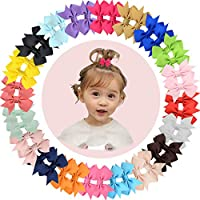 "40pcs 2"" Pinwheel Hair Bow Grosgrain Ribbon Hair Bows Clips Fully Lined Clips for Baby Girls Infants Toddlers Kids 20 Colors in Pairs"