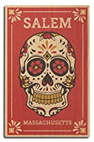 Salem、マサチューセッツ州–Day of the Dead–シュガースカルと花パターン 10 x 15 Wood Sign LANT-73241-10x15W