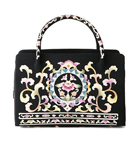 友禅 利休バッグ 岡重 OKAJIMA 日本製 和装 高級シルク ブランドバッグ (ブラック)