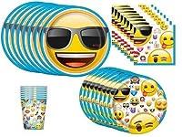 emoji Birthday Party Supplies Bundle Pack for 16 [並行輸入品]