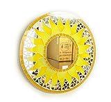 アジアン雑貨 壁掛け バリモザイク・ミラー 鏡 S [D.30cm] 丸型 黄色 太陽 【丸い鏡】