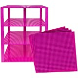 (31 - Magenta) - Classic Baseplates 25cm x 25cm Brik Tower by Strictly Briks 100% Compatible with All Major Brands Building Bricks for Towers and More 4 Magenta Stackable Base Plates & 30 Stackers
