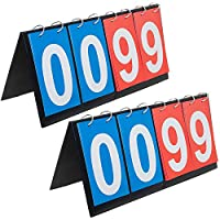 ゴーゴー4デジタルポータブル卓上スコア足ひれ スポーツスコアボード 00から99 - ブルー & レッド カード 2 セット
