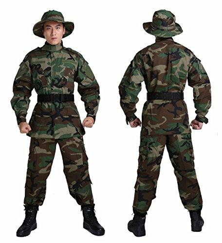 【4点セット】 ウッドランド 迷彩服 ジャケット + ズボン + ブーニーハット + デューティーベルト Mサイズ 身長170cm前後推奨