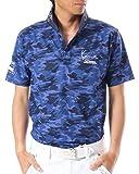 (カールカナイ ゴルフ) KarlKani GOLF ポロシャツ カモ総柄 ドライ 鹿の子 [吸汗速乾] 72KG1216 ネイビー Lサイズ